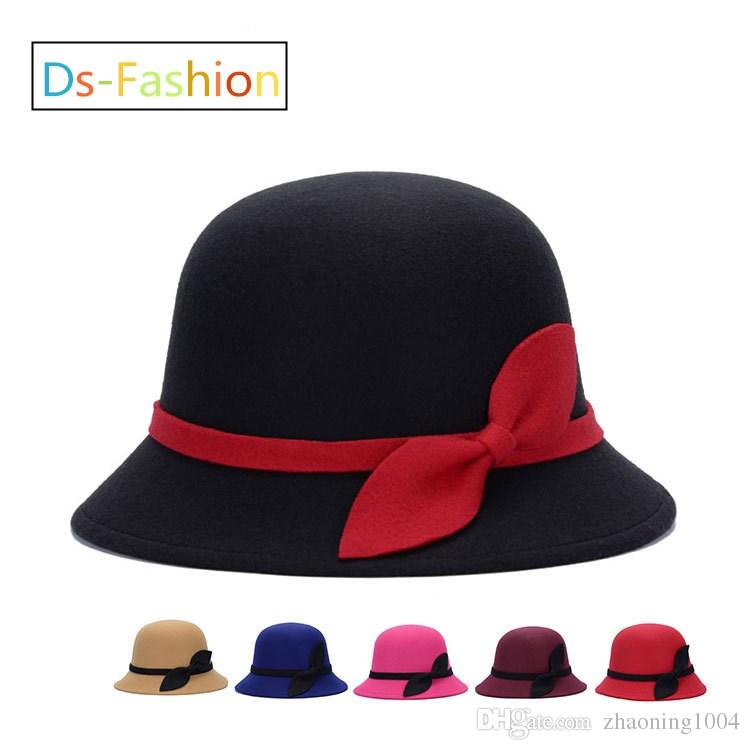 d8e881c0a2b 2019 Elegant Fedoras Kentucky Derby Hat With Bow For Women Popular Dress  Black Pink Red Church Hats Ladies Formal Wedding Honey Bucket Cap Sale From  ...
