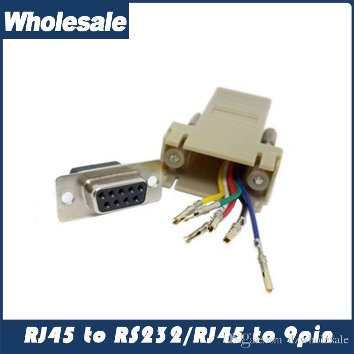DB9 Femmina A RJ45 Femmina F / F RS232 Connettore Adattatore Modulare Extender Convertitore DB9 Femmina A RJ45 All'ingrosso 500 Pz / lotto