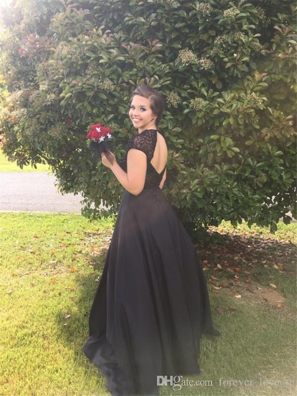 Charming Black Prom Dress Sheer Jewel Neck Capped Shoulder Sexy Backless Beaded Top Prom Dressess Evening Party Gowns Custom Made