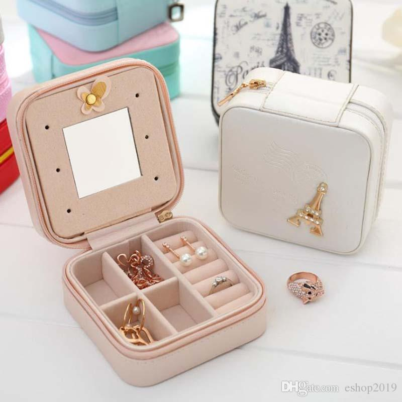 Cheap Fashion Women's Mini Jewelry Box Travel Makeup Organizer Faux Leather Casket With Zipper Cheap Classic Style Jewellery Case