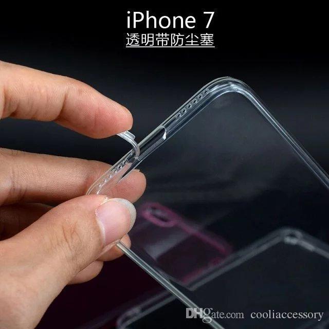 Для Iphone 8 8-й 7 Plus Iphone7 I7 7gen мягкий чехол TPU с пыли разъем прозрачный силиконовый каучук Кристалл обложка кожи Celular сотовый телефон