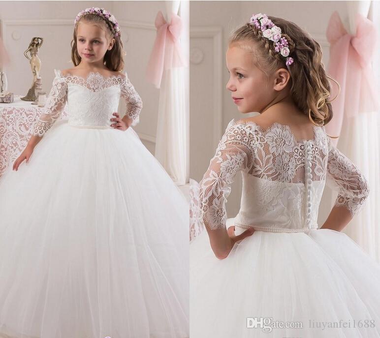 2016 spitze 3/4 Long Sleeves Perlen Tüll Blumenmädchenkleider Vintage Kind Pageant Kleider Schöne Blumenmädchen Brautkleider F