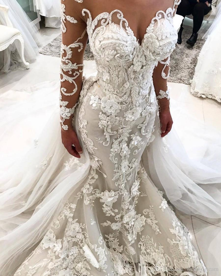 dd9de3335573 Amazing Mermaid Lace Wedding Dresses With Detachable Train Sheer Sweetheart  Neck Bridal Dress Long Sleeves 3D Applique Trumpet Wedding Gowns Style  Wedding ...