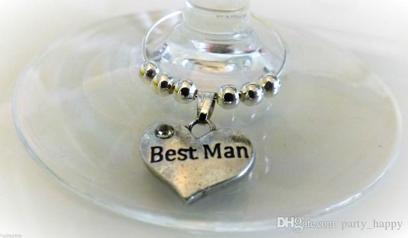 Personalised Wedding Table Decoration Champagne Wine Glass Charms Favor Glass Gift Chocolate Packaging Adorn Article Heart-Shaped