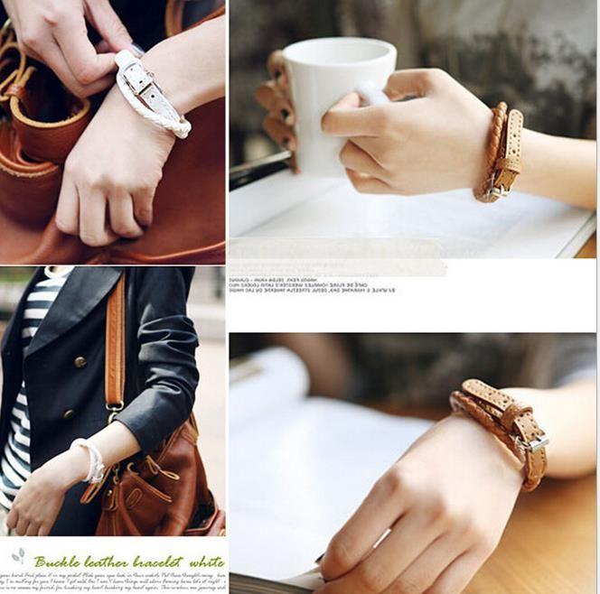 weave leather bracelet wristband fashion women men multi layers rope buckle belt bracelets charm jewelry girl boy party Christmas gift