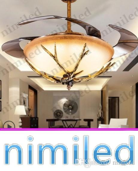 2018 nimi918 42 invisible ceiling fan lights light led resin antlers creative glass living room restaurant bedroom chandelier pendant lamps from nimiled