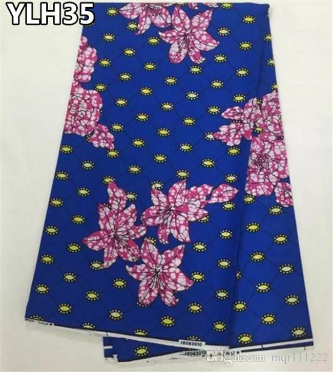 Großhandel Blaue Farbe Blumen Muster Ankara Stoff Echten Wachs ...