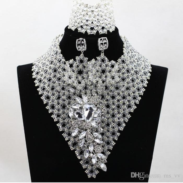 amazing clips sky blue silver african beads Jewelry Sets Fashion Earrings Pendants Necklaces Bracelets Bangles Set for Women Wholesale price