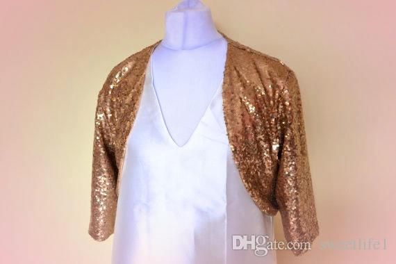 Custom Made Gold Sequins Wedding Bridal Jacket 3/4 Long Sleeve wedding bolero Bridesmaid Jacket