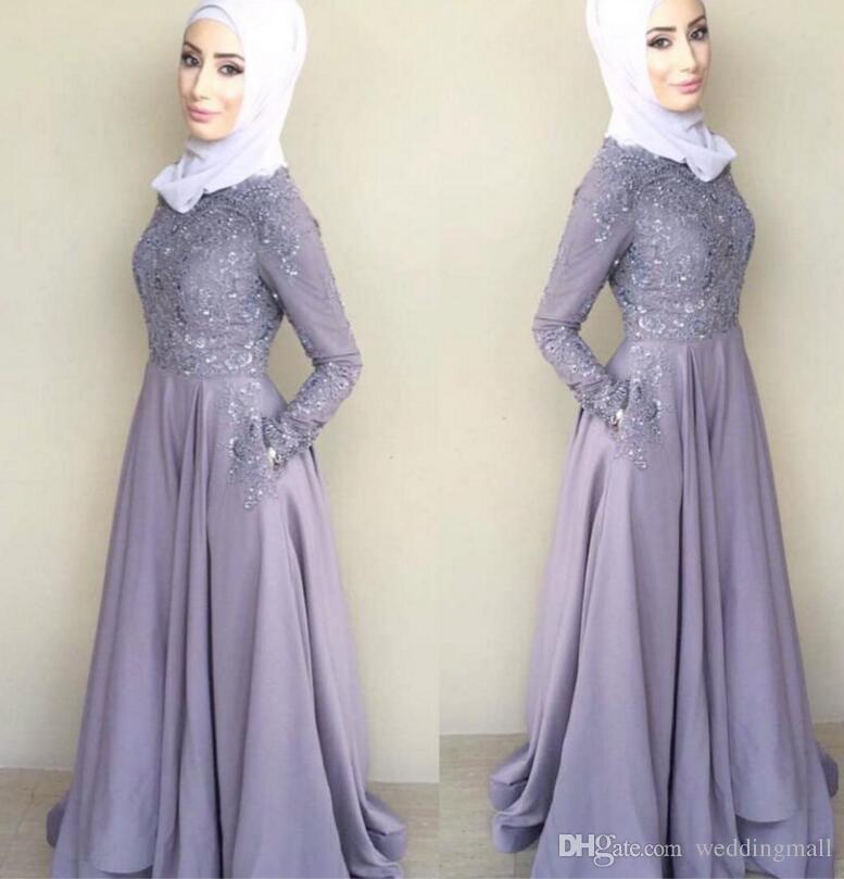 Lace Vintage Arabic Muslim Bridesmaid Dresses Crew Long