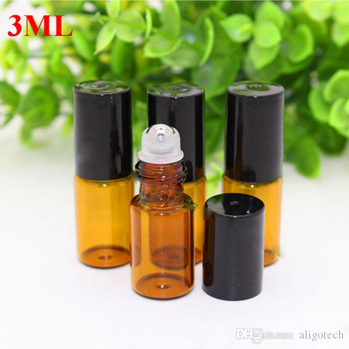 Hot Refillable Amber 3ml ROLL ON Fragrance PERFUME GLASS BOTTLES For ESSENTIAL OIL with Metal Roller Ball by DHL