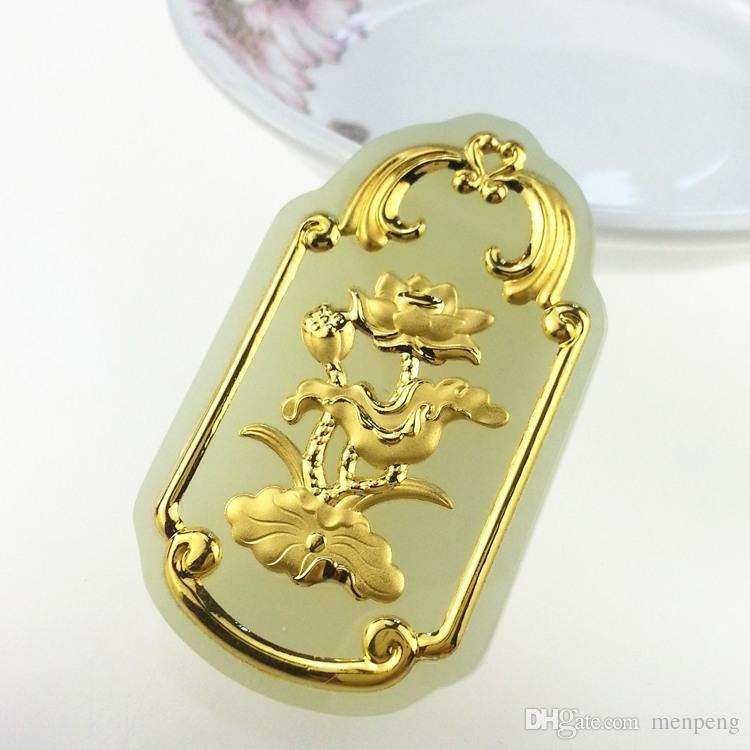 Hetian jade lotus lotus pendant hetian jade gold pendant male