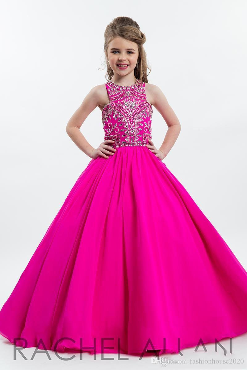 New 2017 Girls Pageant Dresses Princess Hunter Teal Fuchsia Chiffon Crystal Beaded Kids Flower Girls Dress Ball Gown Cheap Birthday Gowns