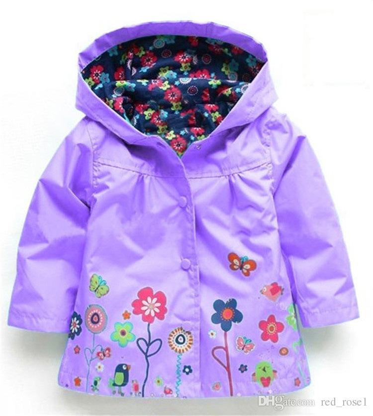 아기 키즈 여자 꽃 레인 코트 7 색 무료 아이 패션 베이비 여자 의류 겨울 코트 꽃 방풍 아웃 켓을위한 비옷 재킷