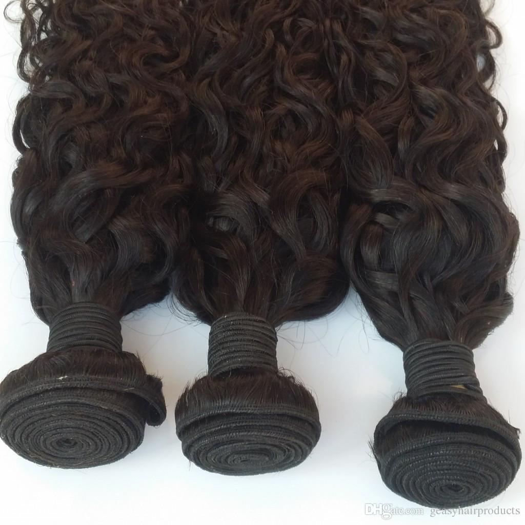 Wet And Wavy Brazilian Human Hair Bundles Unprocessed Brazilian Water Wave Hair Weave 8-30inch Natural Black G-EASY