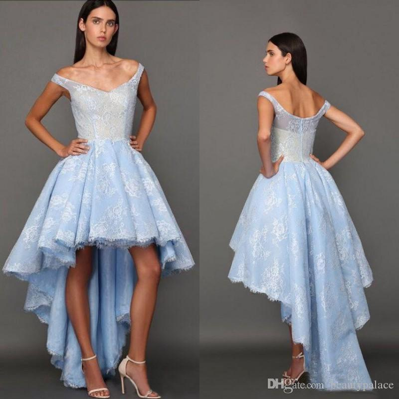 bad191a0618 2017 High Low Sky Blue Prom Dresses Off Shoulders Backless Lace Aso Ebi Graduation  Dresses Arabic Style Party Homecoming Gowns Night Dresses Pencil Dress ...