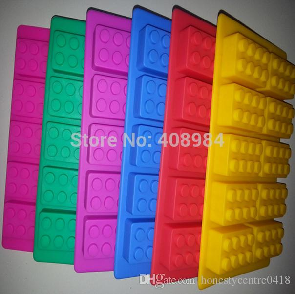 DIY Novelty Soft Silicone Building Blocks shaped Ice Cube Tray Ice Make Chocolate Cake Mold Cookies Chocolate Kitchen Tool