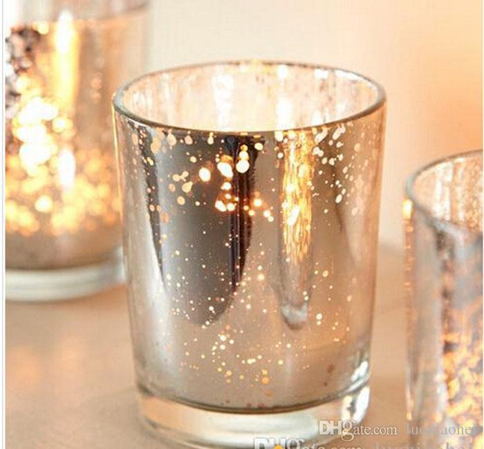 2.5 Inch Tall Glass Mercury Wedding Candle Holder in Silver Color Wending Decoration