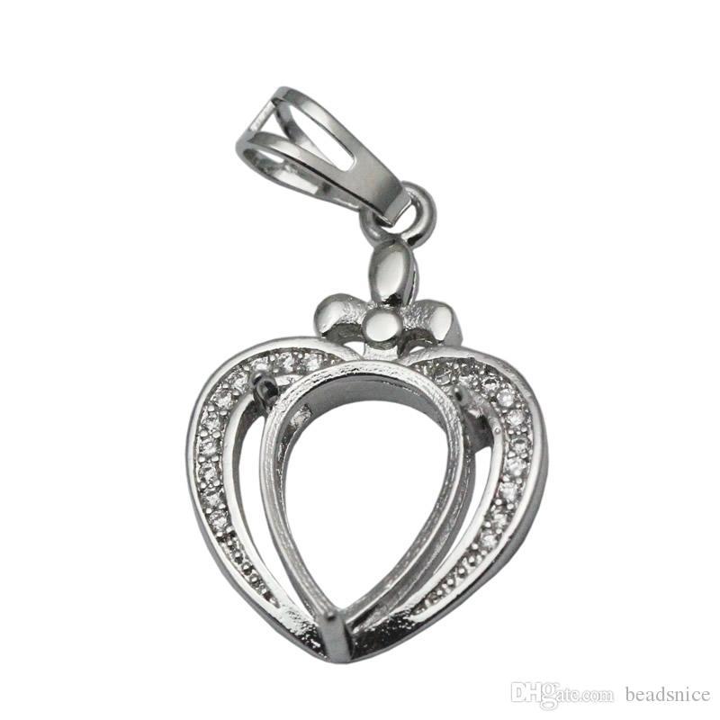 Beadsnice стерлингового серебра ожерелье кулон лоток в форме сердца кулон пустой кабошон установка подарок для лучших друзей ID 34052