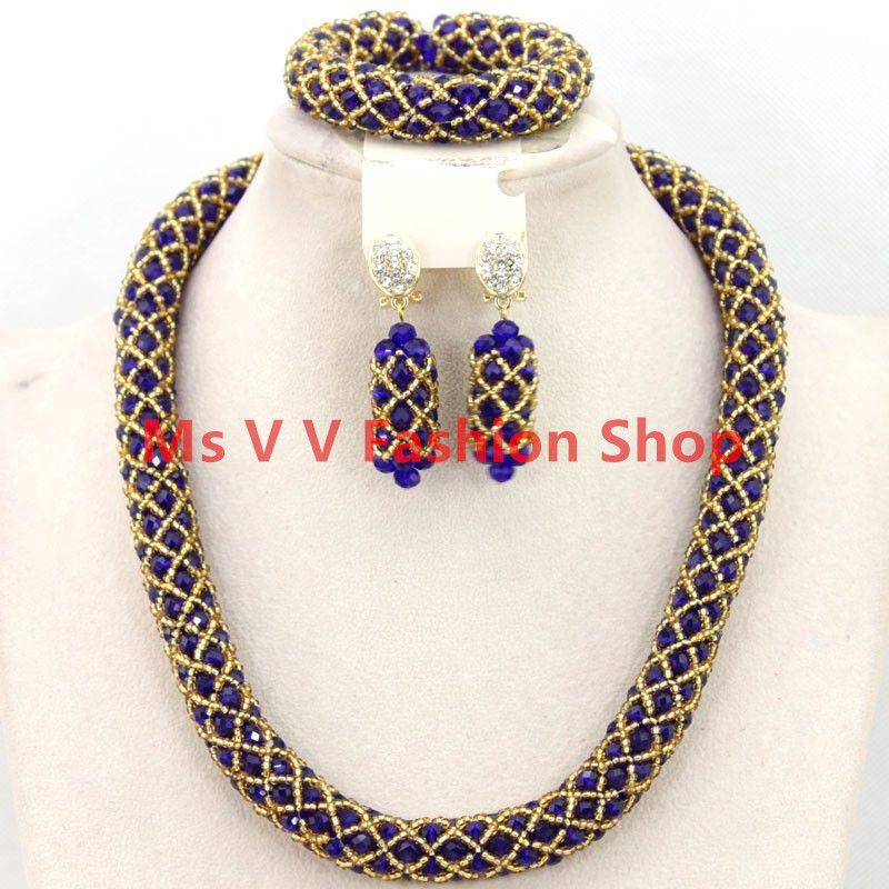 2018 2016 New Design Pretty Royal Blue Gold Women Bridal Jewelry ...