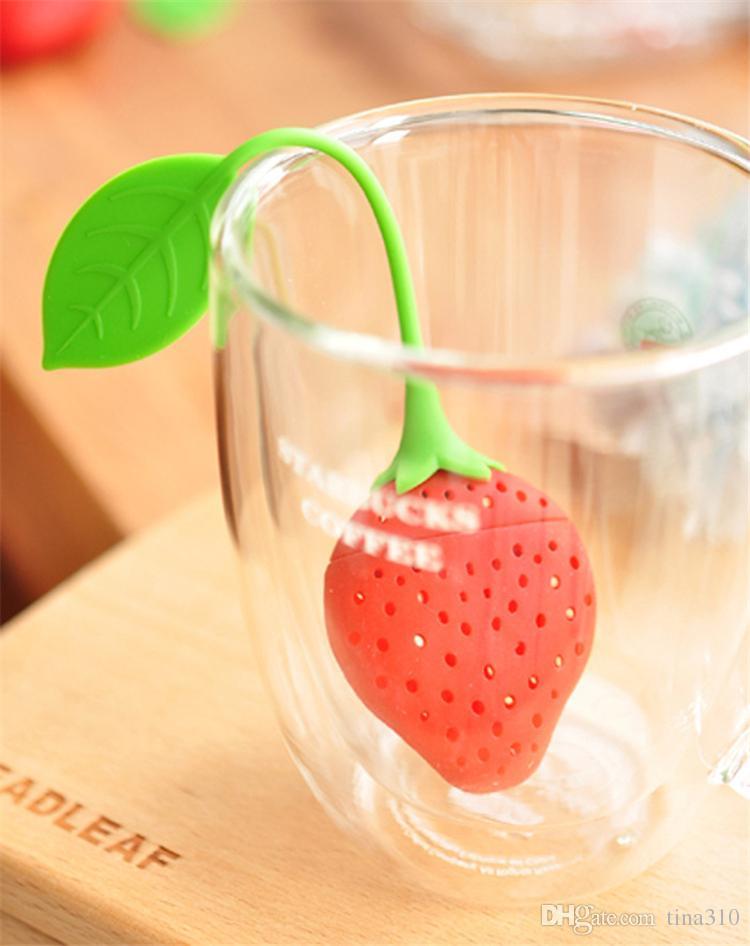Nuovi accessori bicchieri in silicone Simpatici set fragole rosse tea-colino Strumenti tè filtro infusore B0454
