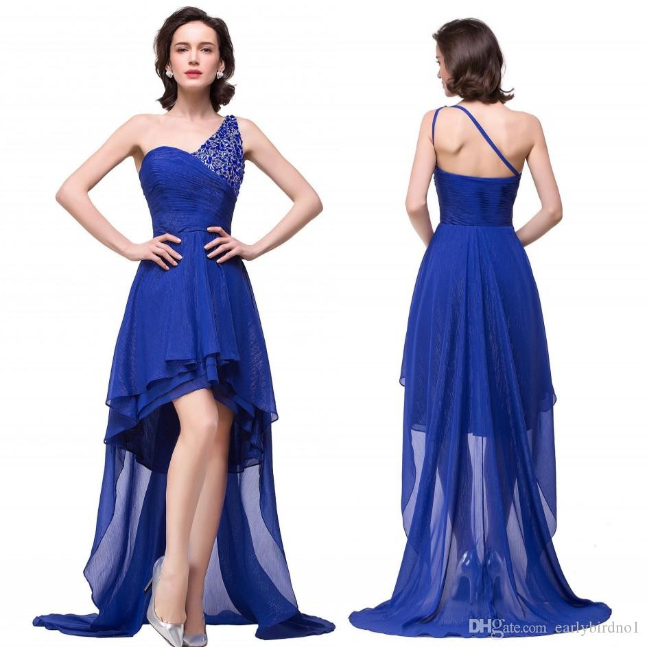 2016 Royal Blue High Low Country Style Bridesmaid Dresses One Shoulder with Beads Real Image Summer Beach Maid of Honor Gowns BZP0890