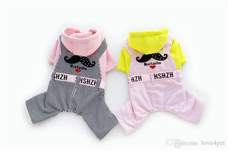 A11 dog Fleece Sweatshirts /w Striped Jeans pants for 4 legs --Moustache design pet clothing pet dog winter warm clothes