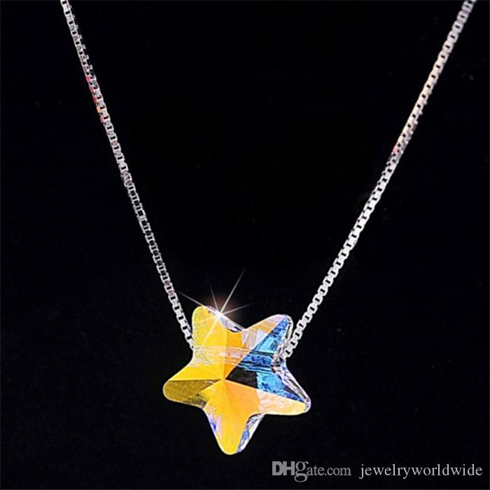 Collana a pendente Cute Star AB Color Moda Genuine Swarovski Element Crystal Solid 925 Sterling Silver Stunning Design 06