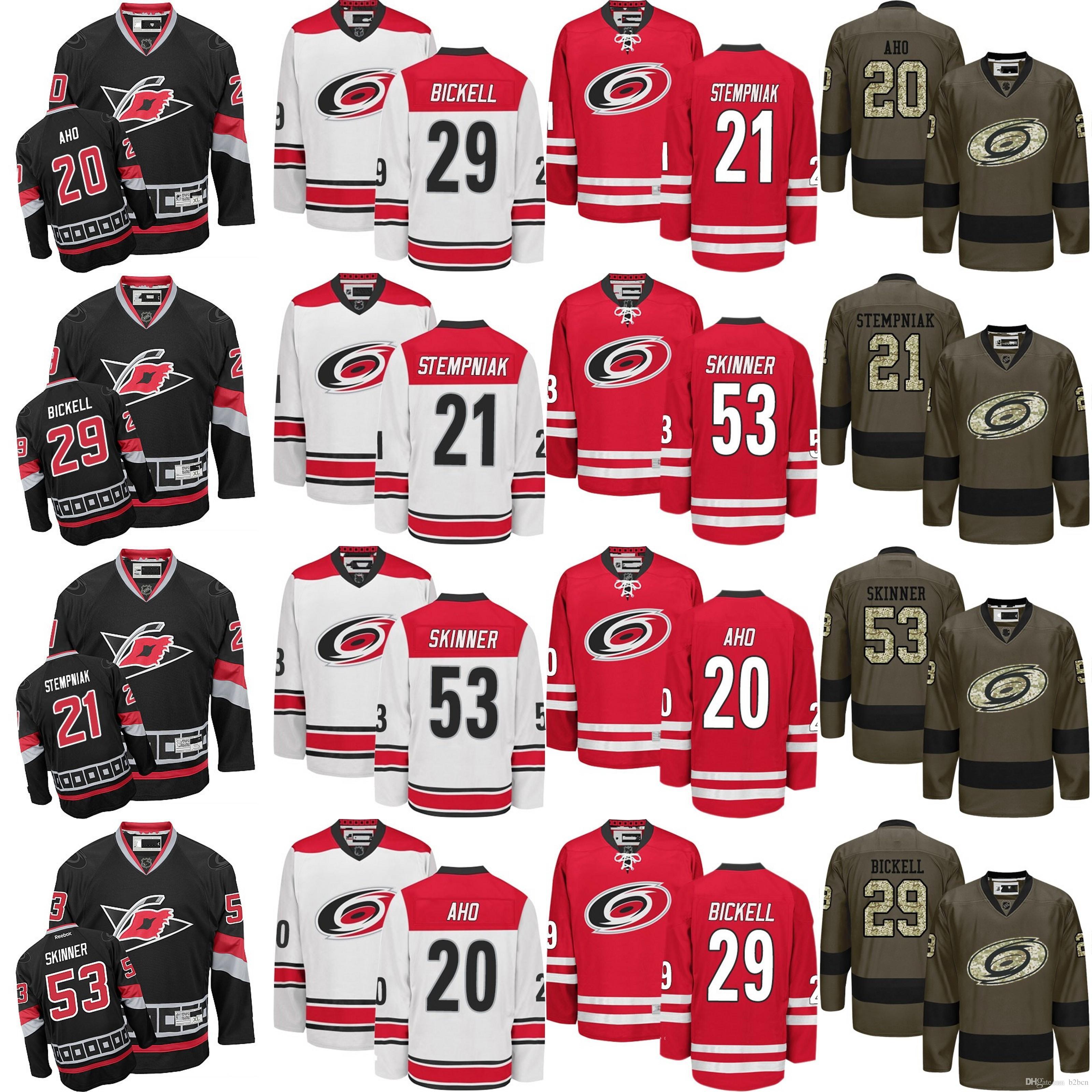 42b8c257 Großhandel Carolina Hurricanes Der Kundenspezifischen Männer 53 Jeff  Skinner 11 Staal 12 Eric Staal 28 Alexander Semin Neues Team Hockey Jerseys  Von B2bcn, ...