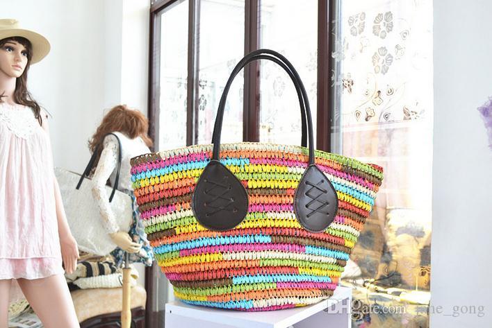 2016 new summer fashion Rainbow color large straw bag Prepare package beach bag high-capacity beach colorful big ears handbags