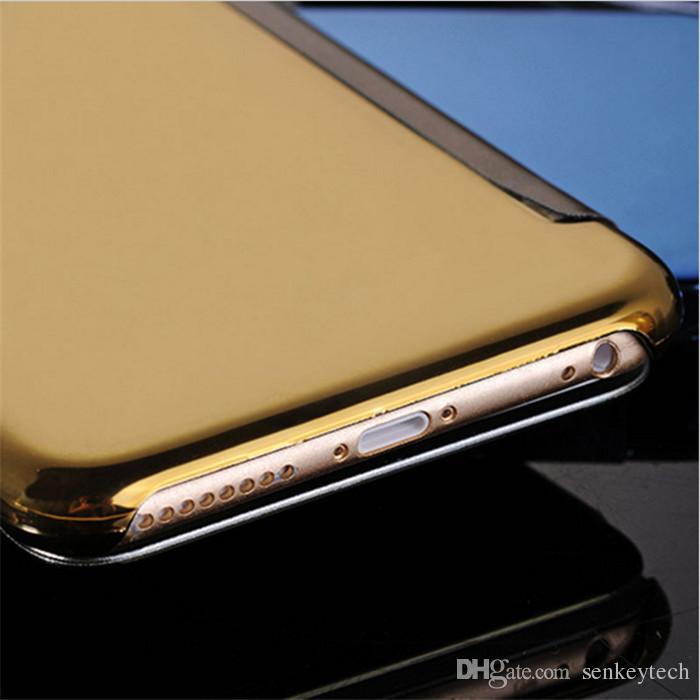 Électroplate miroir écran flip cas De Luxe Clair Vue Miroir Couverture Arrière Électroplate Cas de téléphone Pour Samsung Pour Samsung S7