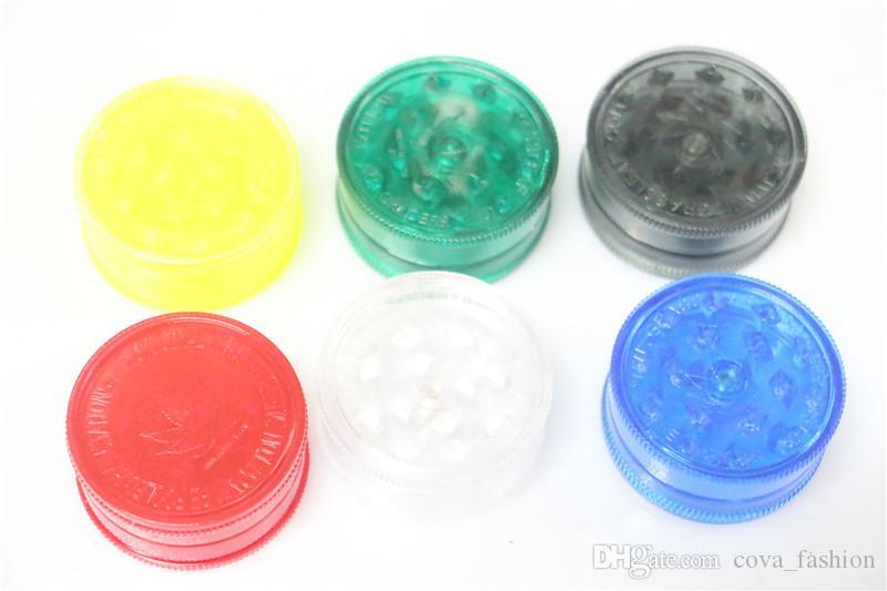 Descuento de plástico Tabaco amoladora 3 partes de 40 mm de 60 mm de capa es de mezcla de humo de acrílico amoladora de la hierba