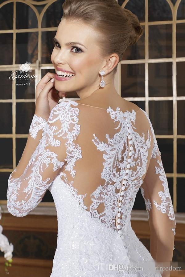 2019 mangas largas románticas sirena vestidos de novia apliques de encaje vestidos de novia botón escalonado volantes espalda vestido de boda