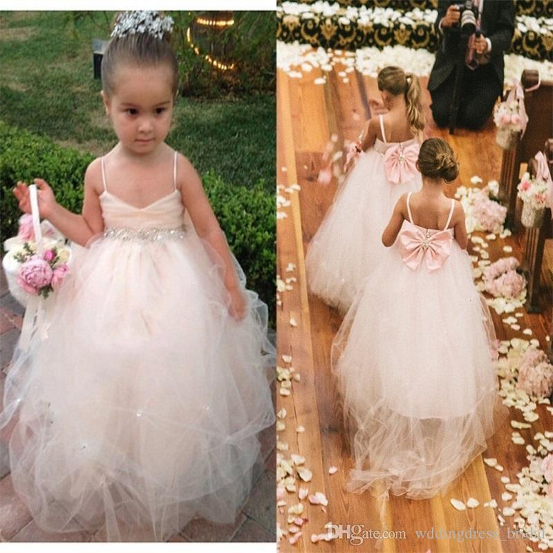 Blush Pink Flower Girls Dresses With Big Bow Pageant Dresses For