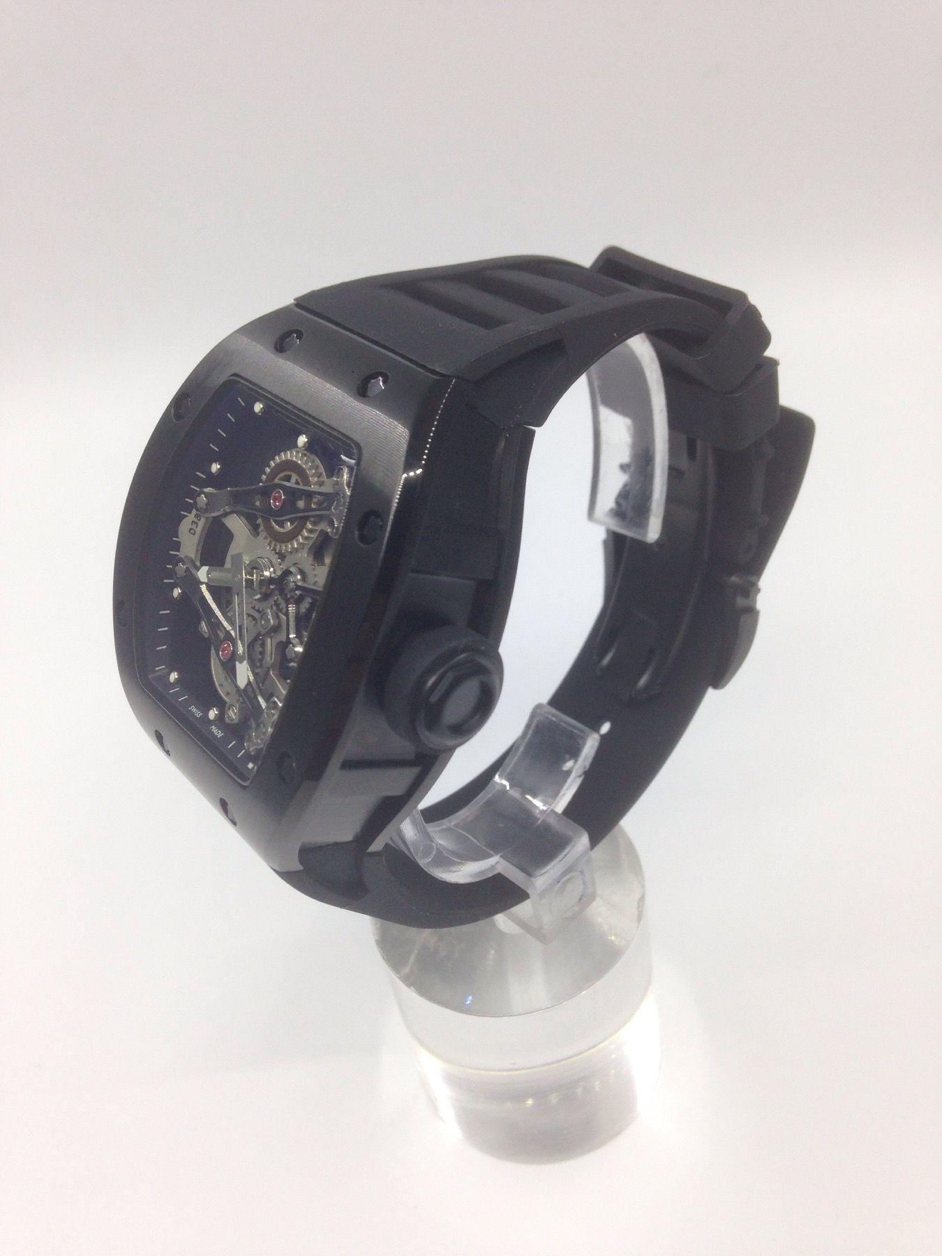 2016 new pattern LUXURY WATCHES 패션 시계 NEW 전체 기능 45mm 중공 뚜르 비옹 블랙 남성용 손목 시계 자동 고무 스트랩