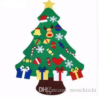 2017 new kids diy felt christmas tree set with ornaments children gift toddler door wall hanging preschool craft xmas decoration christmas shop decorations - Felt Christmas Tree For Kids