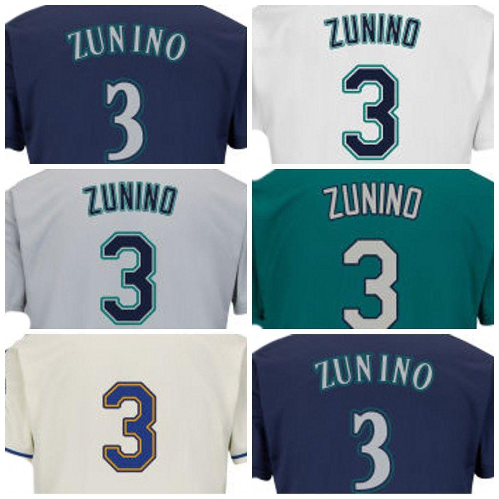 Men s Seattle Jerseys 3 Mike Zunino Baseball Jersey with 40th ... 8598712e0