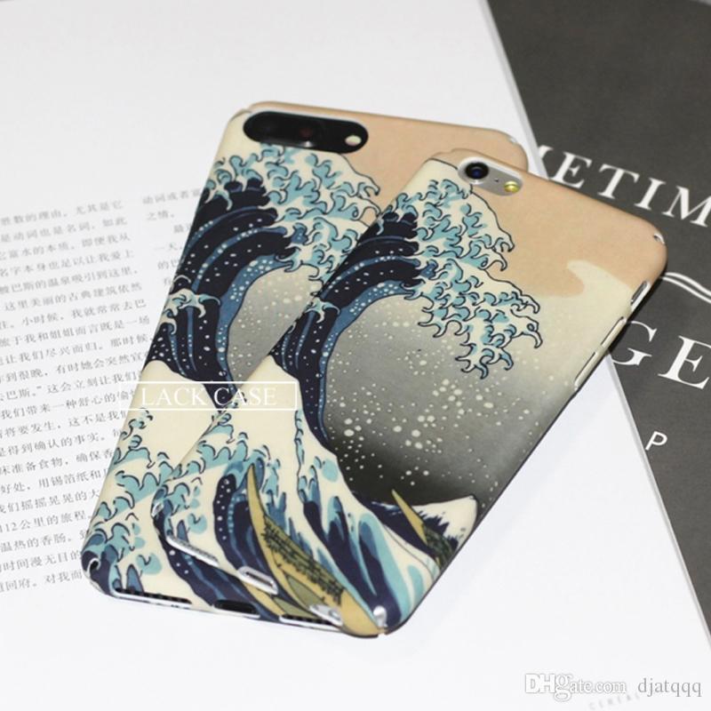 Cas de téléphone pour iphone 7 cas de bande dessinée mer vague océan couverture mode dur plein cas de protection pour iphone7 7 plus capa