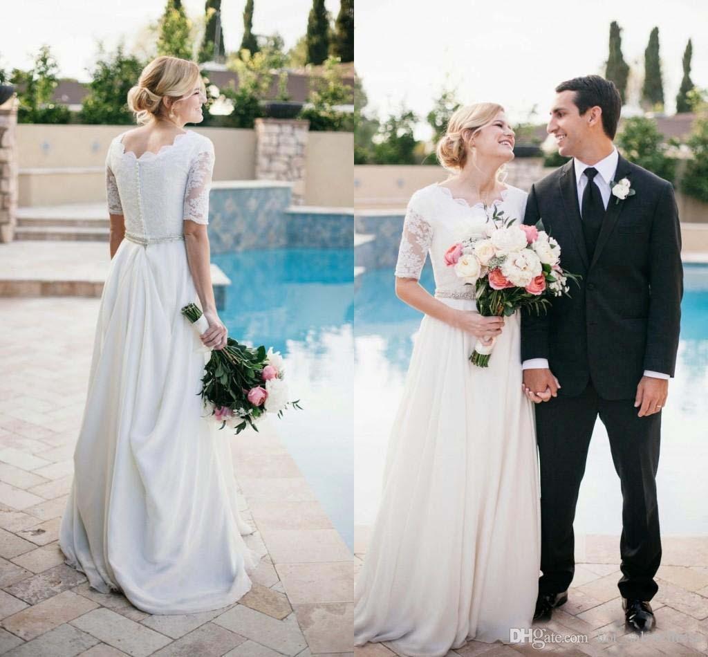 Discount Beach Vinatge Wedding Dress Vestidos De Novia White Half ...
