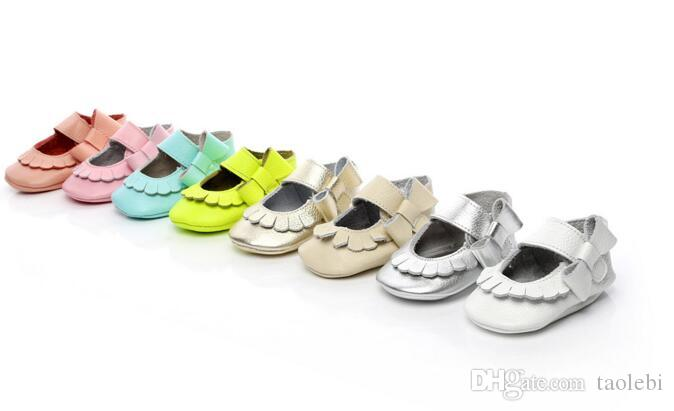 EMS free!mix color and sizeNewest Genuine Leather Baby girls shoes Bow baby princess shoes Top quality newborn shoes