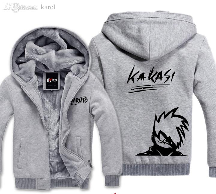 Wholesale-Naruto Kakashi Winter Hoodies Sweatshirt Men Casual Sports Male Jackets Hoody Cloak Shawl Men Cloth Keep Warm Hatake Kakashi