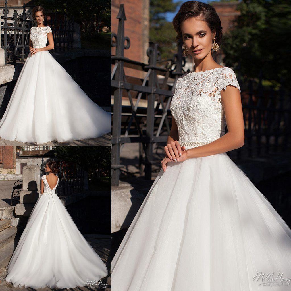 dce05bcea6 Beautiful Lace Backless Wedding Dresses Bateau Cap Sleeves Milla Nova  Bridal Dress Sweep Train A-Line Soft Tulle Wedding Ball Gowns