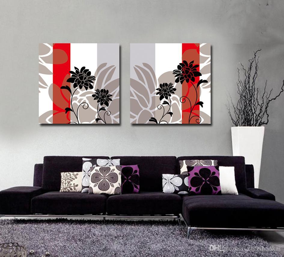 Envío gratis 2 Unidades sin marco Impresiones en Lienzo Pintura al óleo abstracta en maceta de flor hoja de rama peonía Diente de león jarrón de porcelana rosa