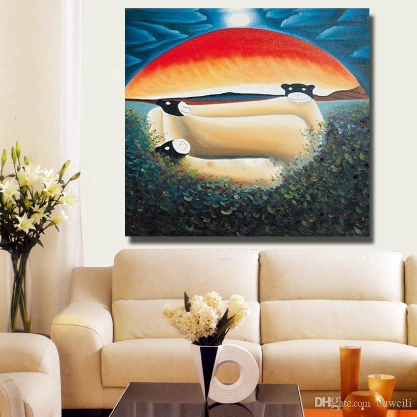 abstract design handmade cartoon picture without frame oil painting for kids room wall hanging decor