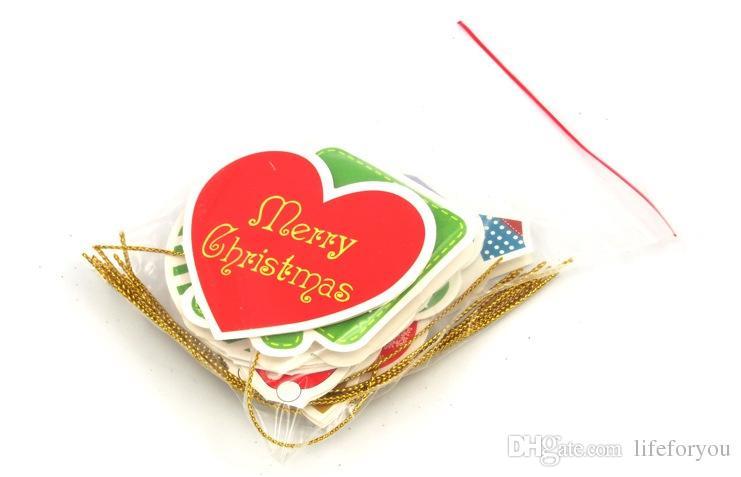 Yılbaşı Tebrik Nimet kağıt kartı Yılbaşı Ağacı Süsleme Süslemeleri Asılı Ev Festivali Asılı Çocuklar Çocuk Hediye, çanta başına 14 adet