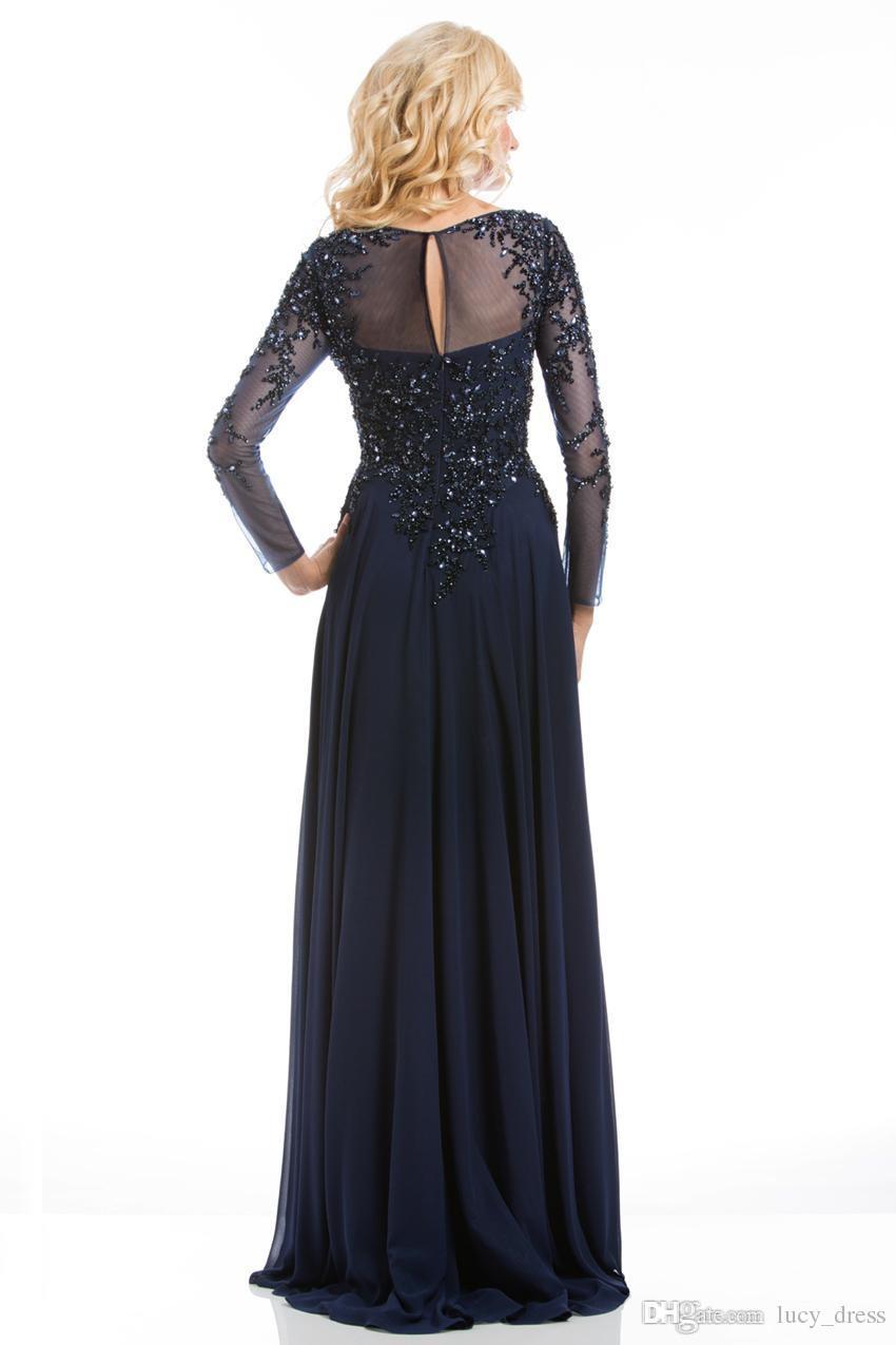 2019 meistverkauften elegante Marine-Blau-Mutter der Braut Kleider Chiffon See-Through-Langarm Sheer Ausschnitt Appliques-Abend-Kleid