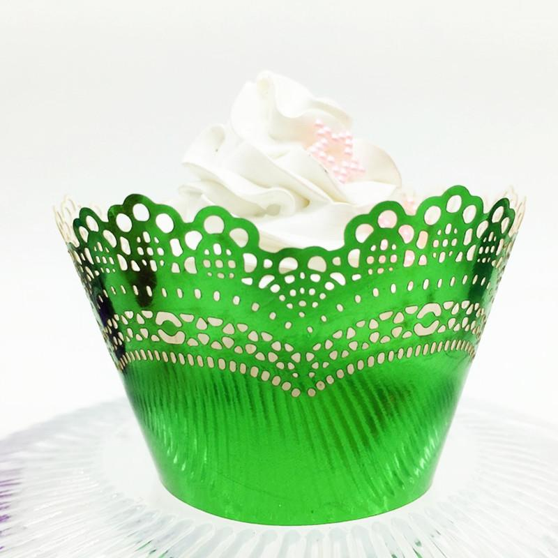 Light reflecting green christmas cupcake wrapper Xmas thanksgiving cupcake decorative wrapping party favors multi colors free ship