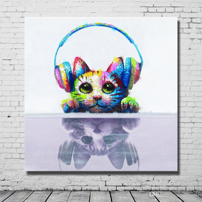 Hand painted cute cat listen music abstract cartoon animal pictures high quality Canvas Wall Art