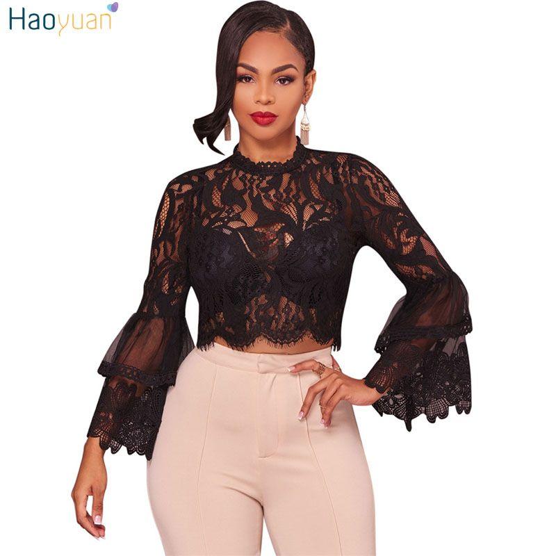 be3cf39b22b37 2019 HAOYUAN Lace Sexy Blouse Women Crop Tops See Through Long Sleeve Tops  2017 Autumn Fashion Boho Zip Blouses Black White Shirts Q1110 From  Xiao0002
