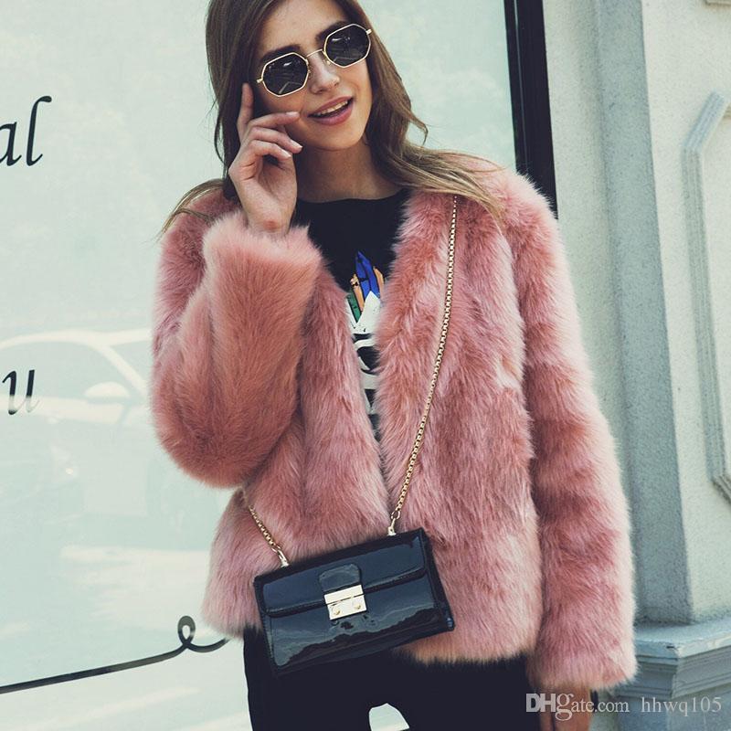 2018 Plush Fox Fur Jacket For Women Black White Pink Green Motorcycle  Jackets Fashion Girls Streetwear Club Outwear CJG0804 UK 2019 From Hhwq105 d8dbc5e86
